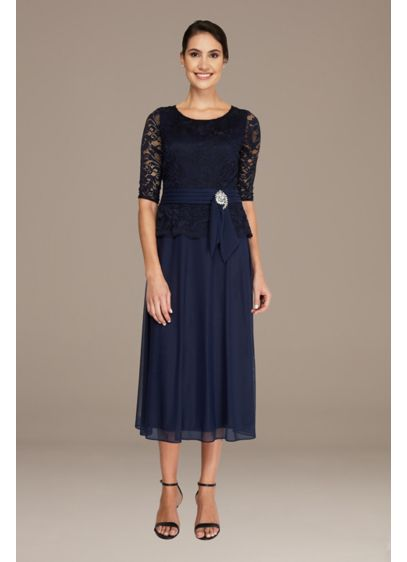 Tea Length A-Line 3/4 Sleeves Cocktail and Party Dress - Le Bos