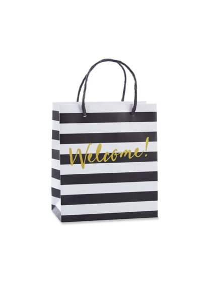 Black And White Striped Welcome Bags Set of 12 - Wedding Gifts & Decorations