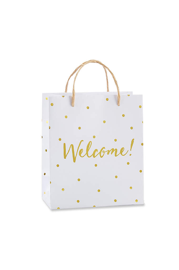 Gold Foil Dot Welcome Bags Set of 12 - In elegant white and gold, this Gold Foil