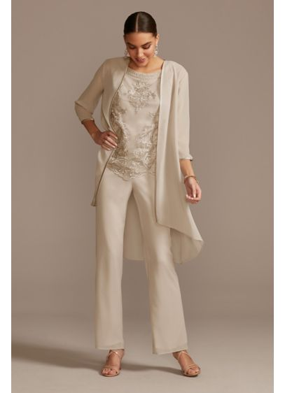 Open Front Jacket Embroidered Three-Piece Pantsuit - Featuring an embroidered shell and a flowy georgette