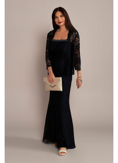 Long Scoopneck Lace Sheath Tank Dress and Jacket - Crafted of the loveliest lace, this mother-of-the-bride tank