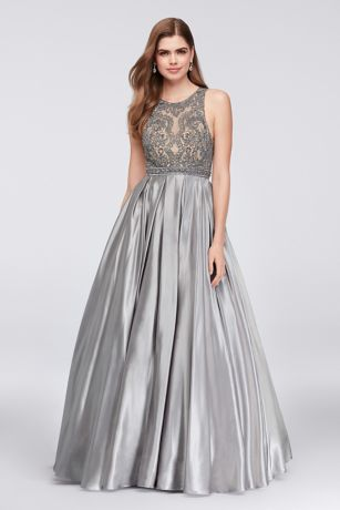 beaded illusion satin ball gown with keyhole back david s bridal