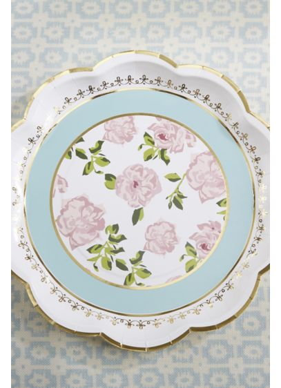 Tea Time 9-Inch Paper Plates with Gold Rim - Wedding Gifts & Decorations