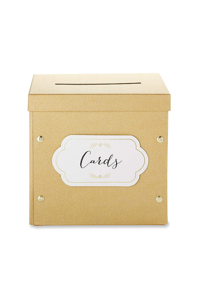 Gold Shimmer Collapsible Card Box - The Gold Glitter Collapsible Card Box is a