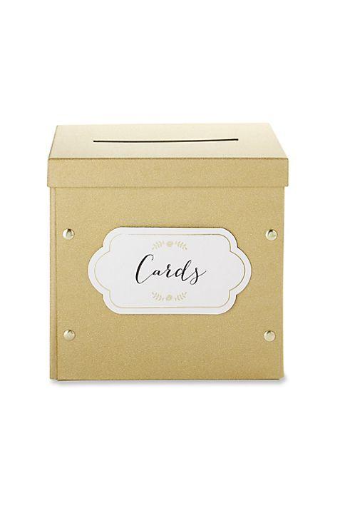 Gold Shimmer Collapsible Card Box | David\'s Bridal