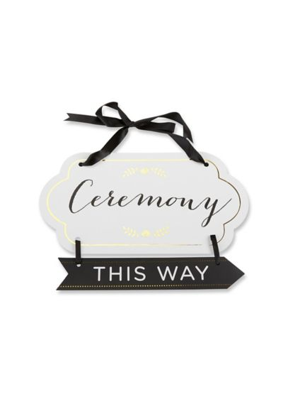 Classic Gold Foil Directional Ceremony Sign - Wedding Gifts & Decorations