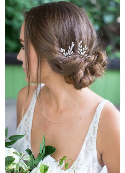 David's Bridal Grey (Freshwater Pearl Spray Hairpin Set of 2)