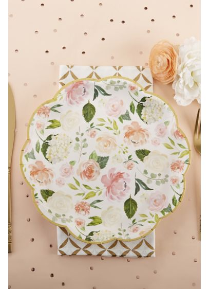 Floral 9-Inch Premium Paper Plates with Gold Rim - Set of 32 Paper 9