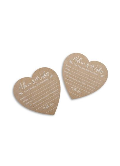 Beige (Wedding Advice Card - Heart Shape (Set of 50))
