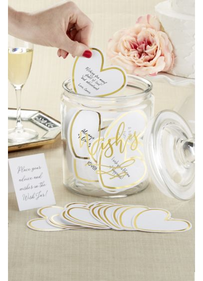Wish Jar Heart-Shaped Cards with Gold Border - Wedding Gifts & Decorations