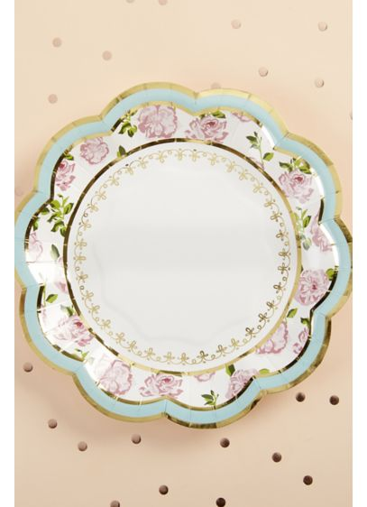 Tea Time Whimsy 7-Inch Premium Paper Plates - Wedding Gifts & Decorations