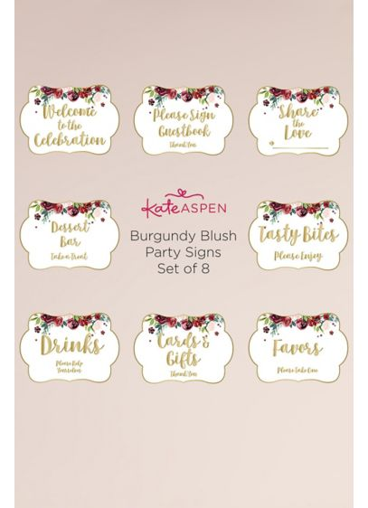 Burgundy Blush Floral Party Decor Sign Kit - Includes eight signs reading: - Drinks, Please Help