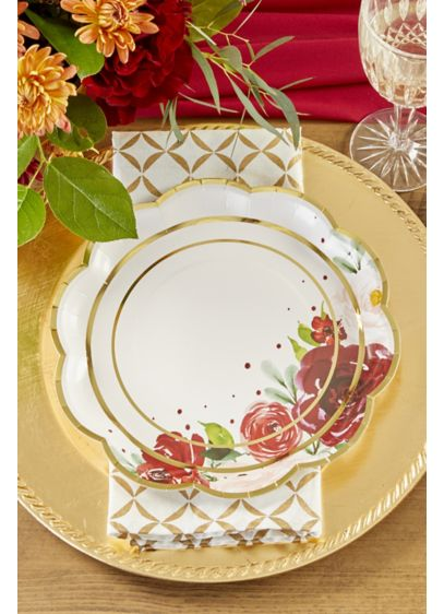 Burgundy Floral 9-Inch Paper Plates with Gold Rim - Wedding Gifts & Decorations