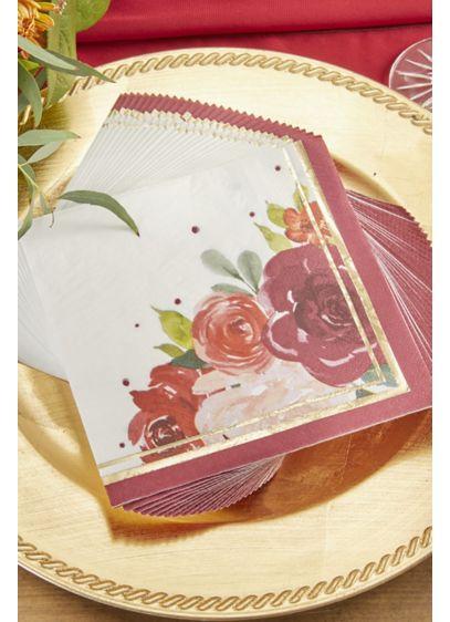 Burgundy Blush Floral Paper Napkins - Set of 120 Paper 6.5