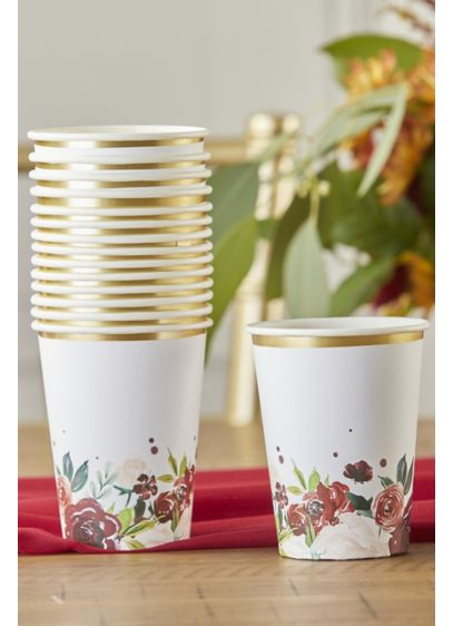 Burgundy Blush Floral Paper Cups - Wedding Gifts & Decorations