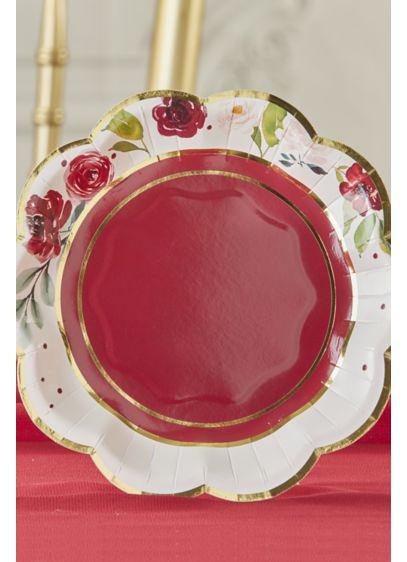 Burgundy Blush Floral 7-Inch Premium Paper Plates - Set of 64 Paper 7