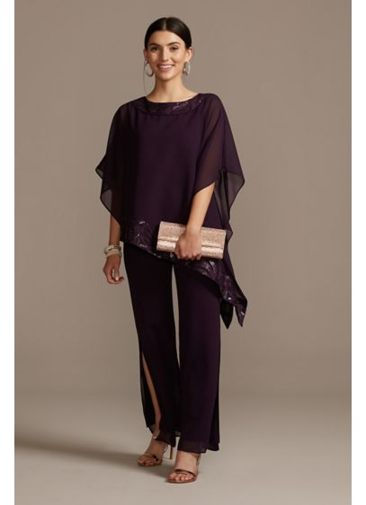 Asymmetric Chiffon and Embroidery Pant Suit Set - Trimmed with sequin embroidery along the collar and