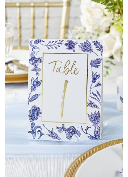 Blue Willow Tent-Style Table Numbers - Wedding Gifts & Decorations