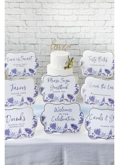 Blue Willow Decor Sign Kit - Includes eight signs reading: - Welcome to the