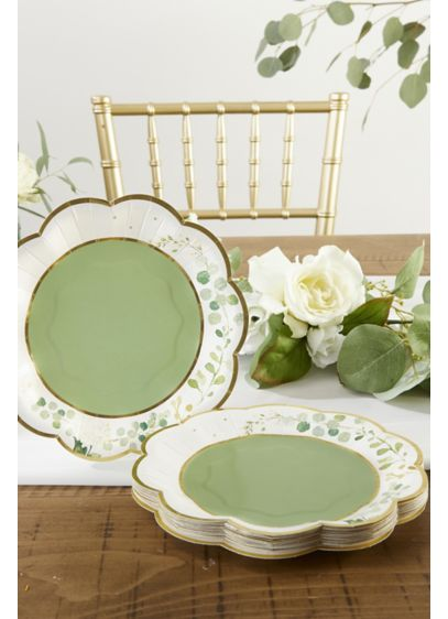 Botanical Garden 7-Inch Paper Dessert Plates - A lovely set of scalloped botanical paper dessert
