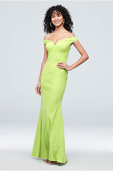 Plunging Cuffed Off the Shoulder Sheath Gown