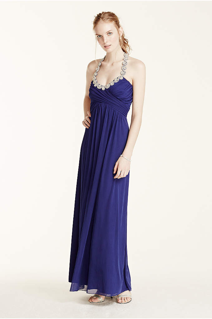 Crystal Embellished Tie Back Halter Prom Dress