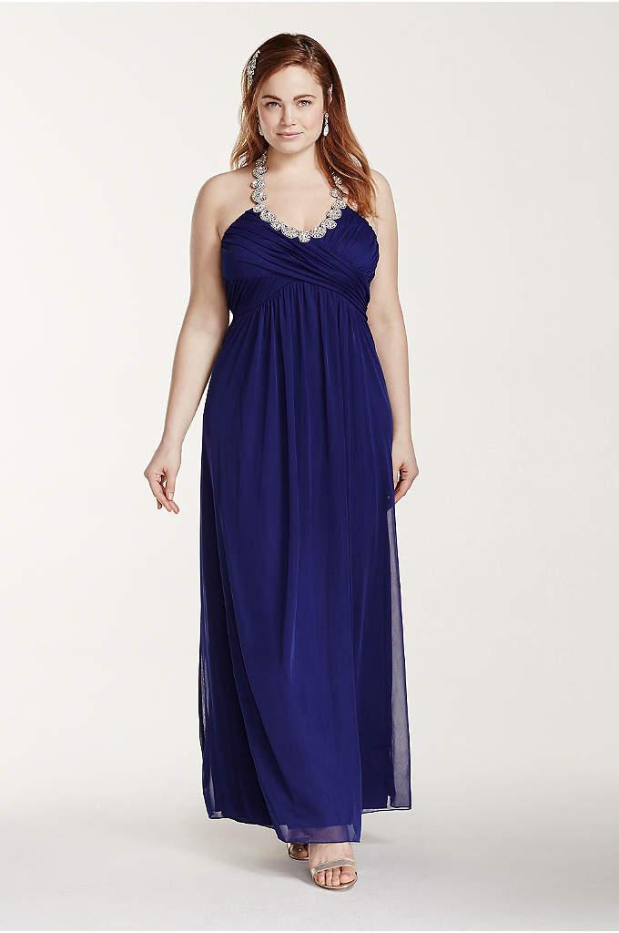 Crystal Embellished Tie Back Halter Prom Dress