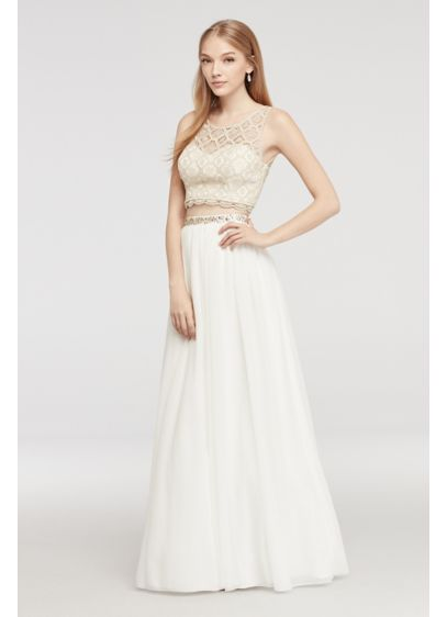 Two Piece Lace Prom Dress with Illusion Neck | David\'s Bridal
