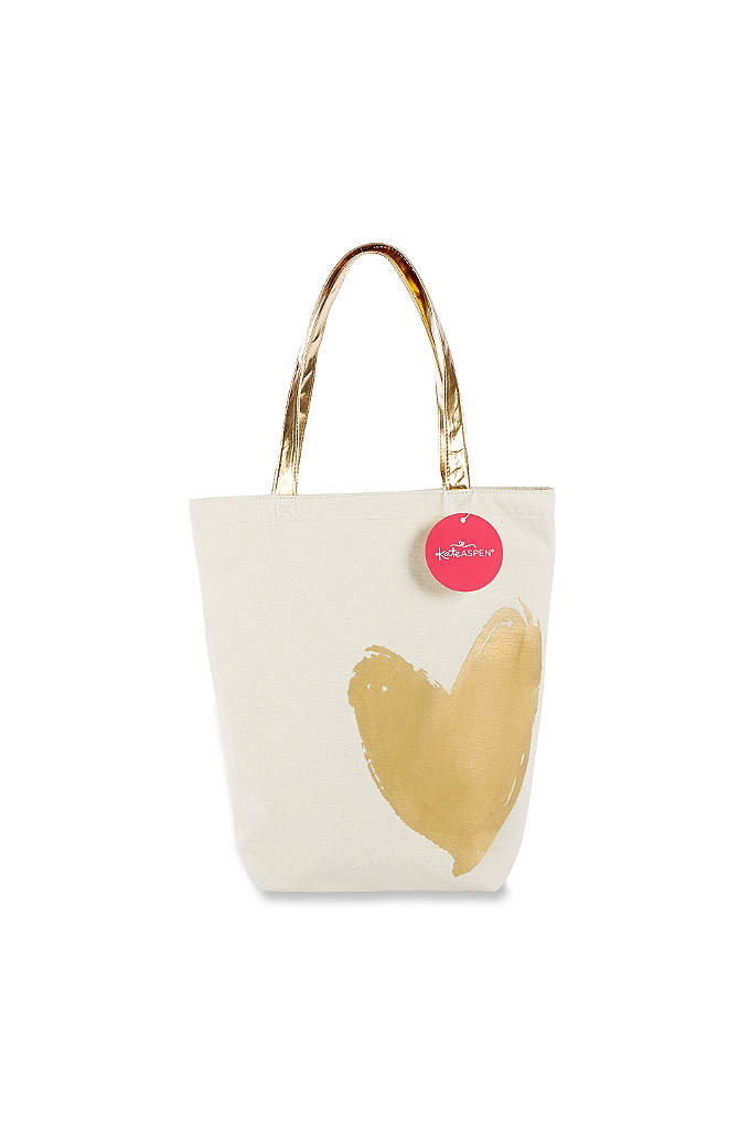 Metallic Gold Heart Canvas Tote Bag