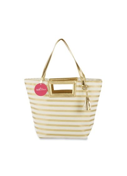 Striped Metallic Gold Canvas Tote With Tassel - Wedding Gifts & Decorations