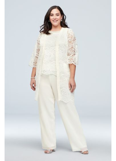 Flowy Chiffon Three-Piece Set with Embellished Top - This elegant plus-size jacket, blouse, and pant set