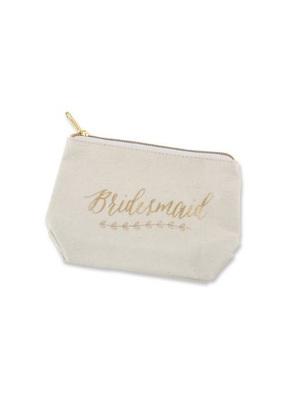 (Gold Foil Bridesmaid Canvas Makeup Bag)
