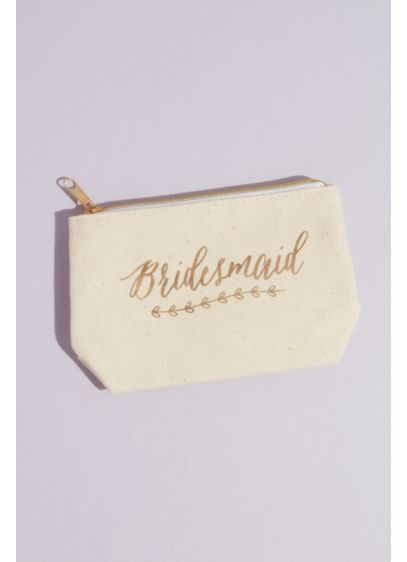 Bridesmaid Canvas Cosmetic Bag with Gold Foil - Wedding Gifts & Decorations