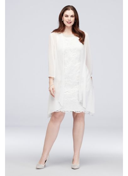 Lace Sheath and Waterfall Jacket Plus Size Set - A sleek, lace plus-size knee-length dress is visible
