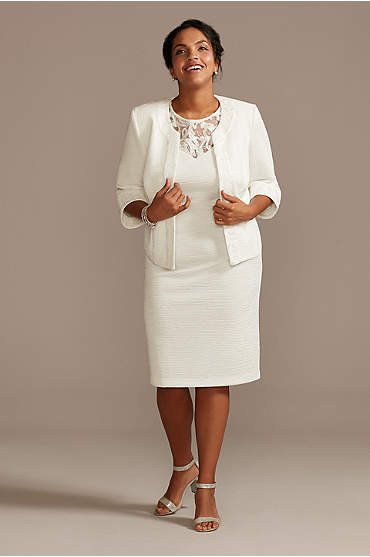 Sequined Illusion Neck Plus Size Dress and Jacket