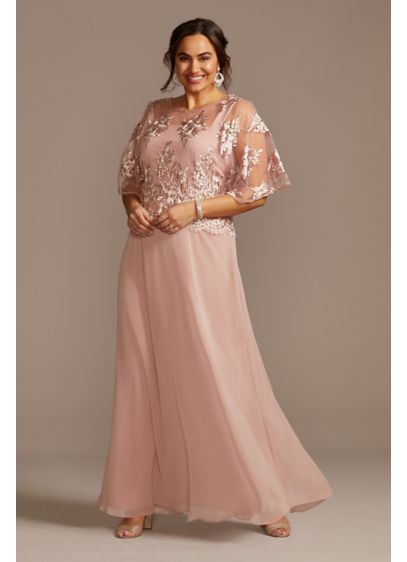Long A-Line Elbow Sleeves Guest of Wedding Dress - Le Bos