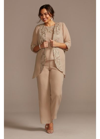 Plus Size Three Piece Set with Corded Lace - This chiffon jacket, shell, and pant set is