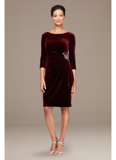 Stretch Velvet Ruched Petite Dress with Beaded Hip - Extra-special events call for extra-special dresses like this