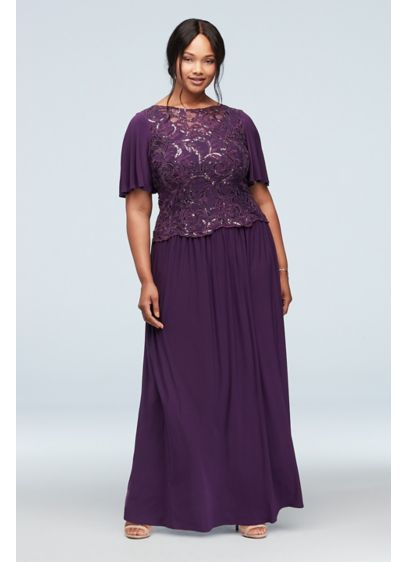 Flutter Sleeve Sequin Lace Plus Size Dress - Perfect for any special occasion, you'll look pretty