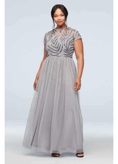 Illusion T-Shirt Sleeve Embellished Plus Size Gown - An elegant sweetheart bodice is delicately covered with