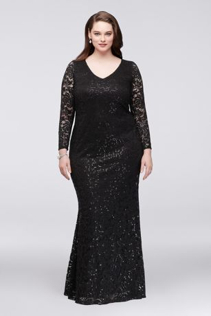 Long Sleeve Lace Plus Size Gown with Keyhole Back | David\'s ...