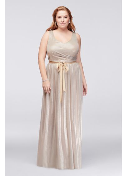 Metallic Foil Plus Size Gown with Ruched Waist