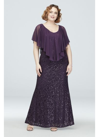Lace Plus Size Gown with Cold Shoulder Capelet - A sheer, handkerchief cut capelet, featuring a cold
