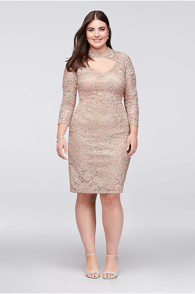 Sequin Lace Plus Size Cocktail Dress with Keyhole - A high-neck style with an alluring peekaboo keyhole