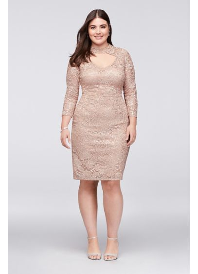 Sequin Lace Plus Size Cocktail Dress With Keyhole Davids Bridal