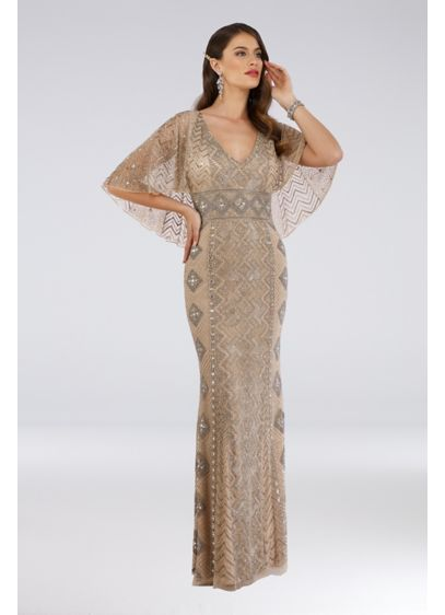 Long Sheath Capelet Cocktail and Party Dress - Lara