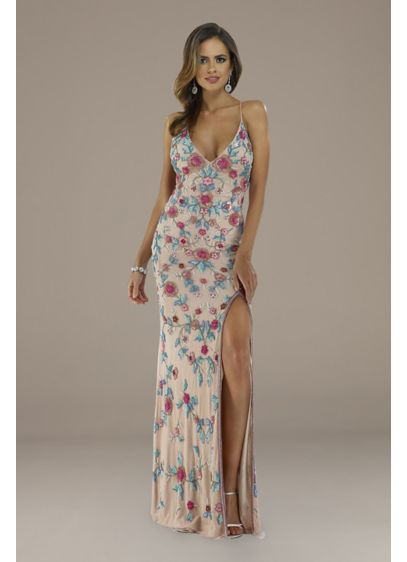 Lara Emily Cross-Back Floral Beaded Sheath Gown - Both sexy and sweet, this cross-back sheath dress