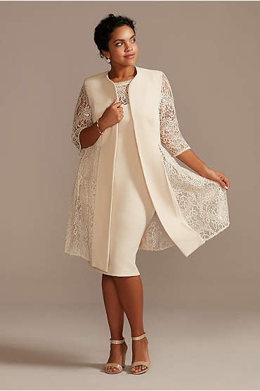 Plus Short Dress and Jacket with Lace Detail