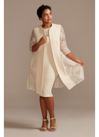 Plus Short Dress and Jacket with Lace Detail - The fun and flirty length, removable jacket, lace