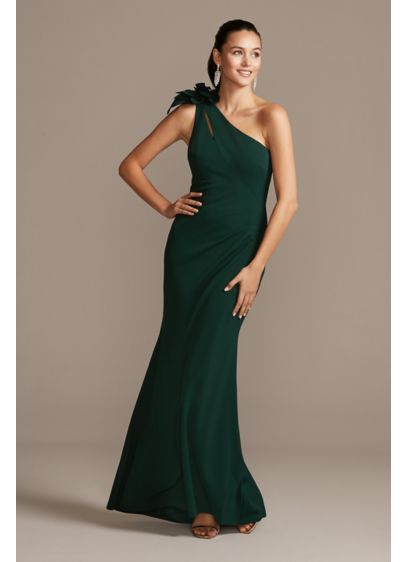 Cutout One Shoulder Sheath Gown with Accent Bow - A sleek one-shoulder neckline embellished with a bow